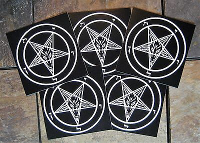 "Lot of 5 4x4"" Pentagram Sticker - Decal Bumper Occult Baphomet Satanic Leviathan"