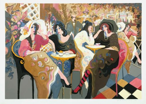 """Isaac Maimon """"le Bistro Cafe"""" 1994   Huge Hand Signed Serigraph 38x53""""   Gallart"""