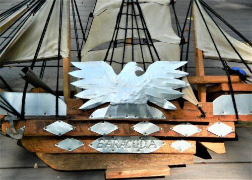 "Vintage American Folk Art Handmade Wooden Ship BARRACUDA/ 38""X24""/Seven Sails"