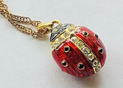 Red Enamel Black Crystal Lady Bug Egg Pendant Gold Tone Chain Necklace - Lady Bug Eggs