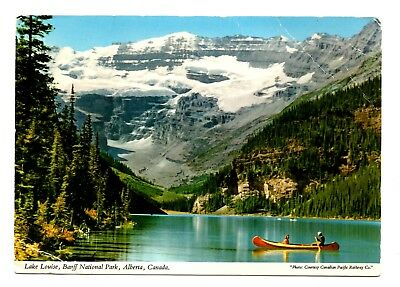 Lake Louise Banff National Park Alberta Canada Postcard Mount Victoria Canoe  ()