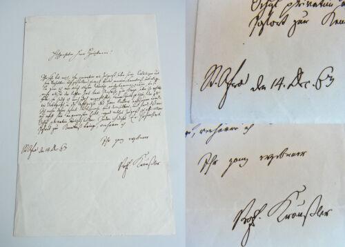 Brief Meißen 1863 -- Prof. Otto Kreußler (Schule ST. AFRA) an Hauptmann ZEUGNIS