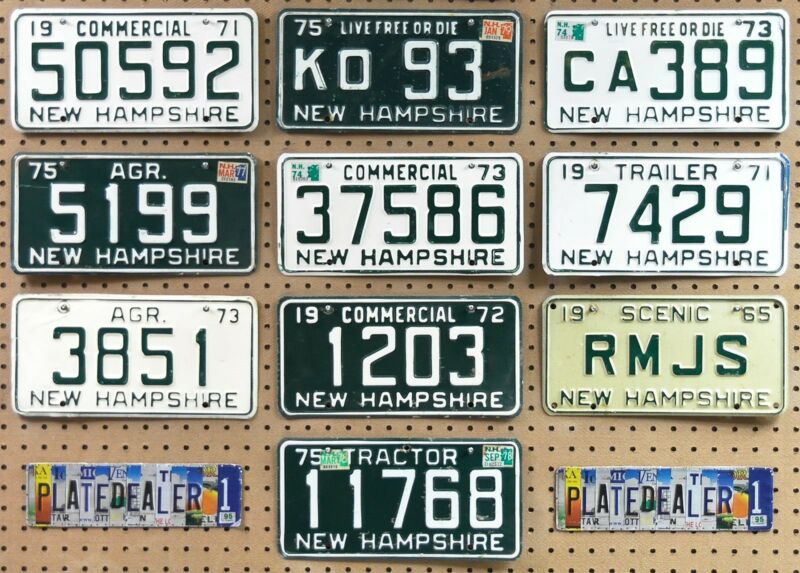 10 NEW HAMPSHIRE Vintage License Plates Signs Man Cave Gifts Art Murals LOT 592