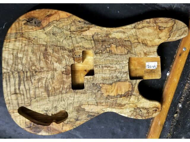PRECISION BASS GUITAR BODY 12047 LUTHIER 5A BLACK LINE SPALTED MAPLE WOOD