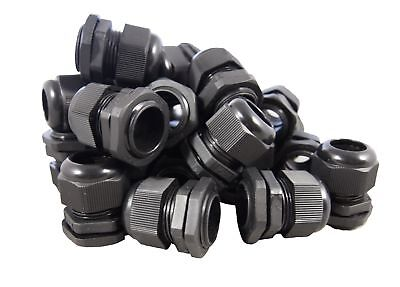 12 Black Nylon Cable Glands Strain Relief With Gasket And Lock-nut 100 Pack
