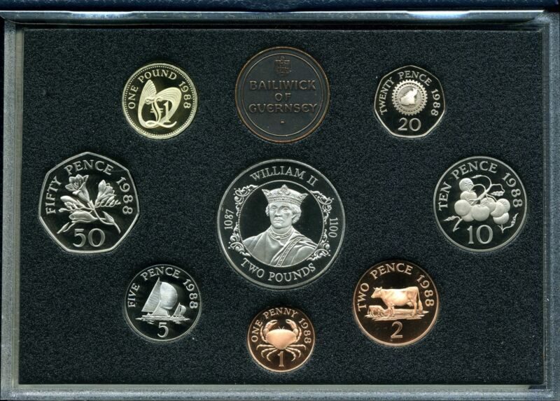 Baliwick of Guernsey Proof Set 1988 Eight-Coin Collection
