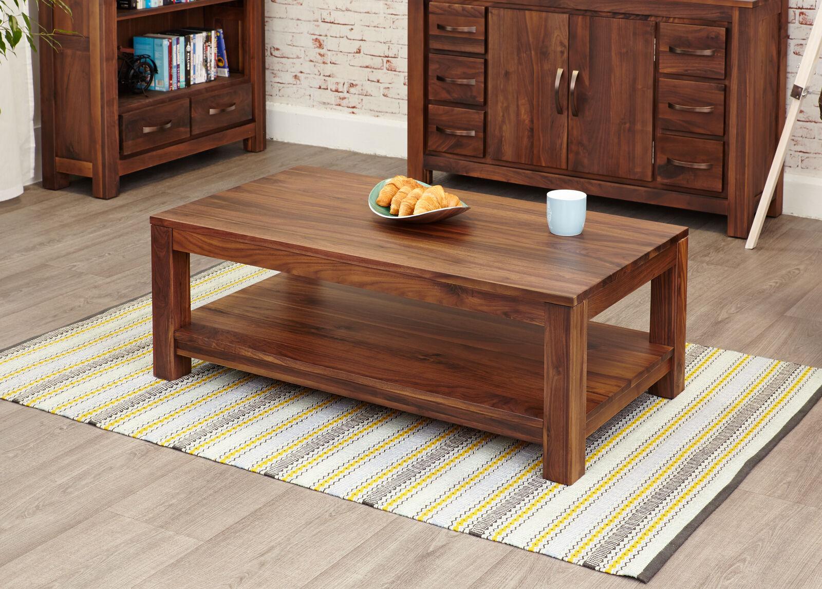 Mayan dark wood coffee table with open shelf storage solid walnut
