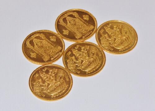 One Asian Indian 916 22K Solid Gold Laxmi Balaji Reversible Coin Token Gift