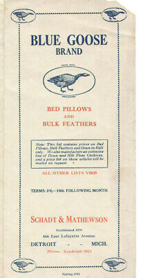 VINTAGE 1928 PILLOW & BULK FEATHER BROCHURE W/PRICES! TURKEY, GOOSE, DUCK DOWN!