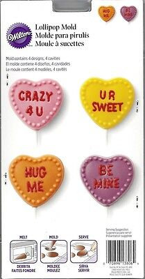 Valentine Candy Message Heart Lollipop Chocolate Candy Mold #3806 - NEW