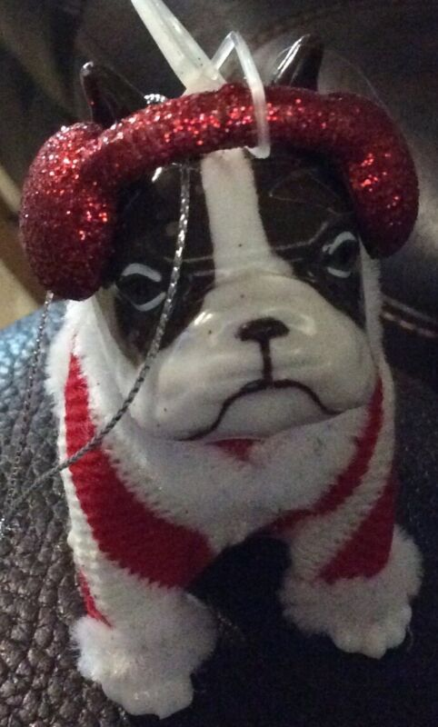 NWT Boston Terrier Dog Christmas Ornament Red Ear Muffs Sweater