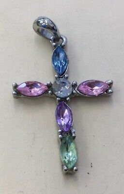 Silver Tone Multi Colored Glass Stone Cross Fashion Pendant XW11 Glass Multi Stone Pendant