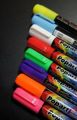 Popart Marker Pens 8 Color Liquid Chalk Fluorescent Neon Markers For LED Board