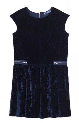 NWT Nordstrom Truly Me Girls Navy Blue Velvet Dress Size M $48 CPBR