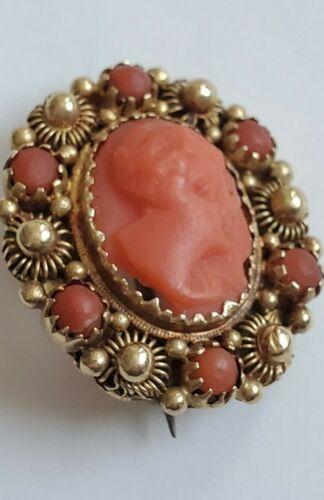 14K Yellow Gold Mediterranean Red Coral Cameo Pin Brooch
