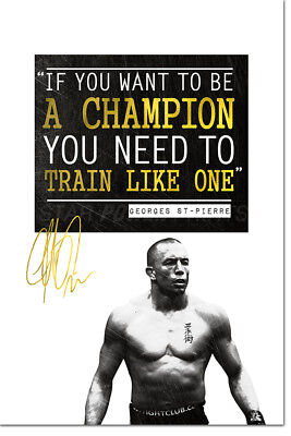 GEORGE ST PIERRE INSPIRATIONAL MOTIVATIONAL MMA QUOTE POSTER PRINT - 12 X 8  UFC