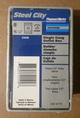 Thomas Betts T11 Single Gang Outlet Box Outdoor Three 12 Hubs Silver...