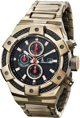 CALABRIA - ARMATO Forte - Gold - Black Dial Mens Watch with Carbon Fiber Bezel