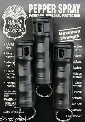 3 pack Police Magnum OC-17 mace pepper spray 1/2oz Black Flip Top Keychain
