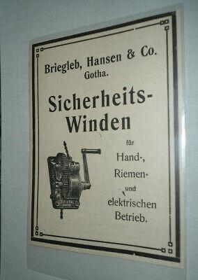 Alte Reklame Werbung Sicherheitswinden, Handwinden Briegleb Gotha