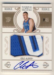 Cole Aldrich 2010-11 National Treasures Basketball Autograph Prime Patch RC /99