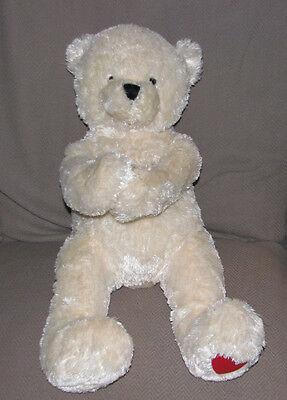 HALLMARK CREAM IVORY WHITE SHAGGY TEDDY BEAR PAWS ARMS HEART FOOT PLUSH