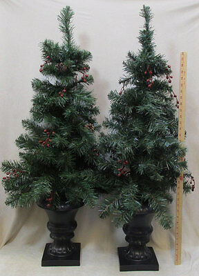 Pair Artificial Potted Pine Trees Christmas Unlit 42 Inch Outdoor Indoor Decor   ()