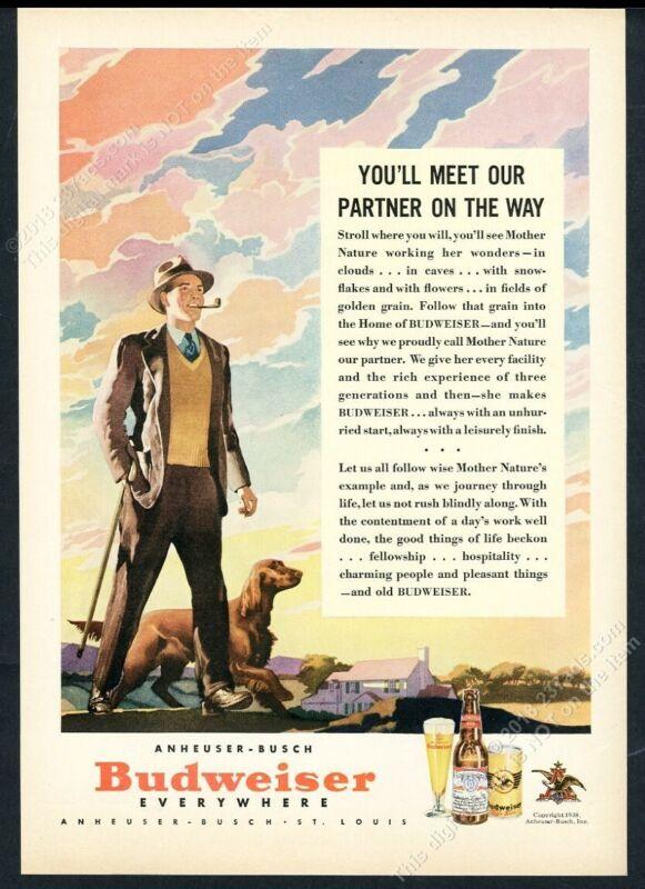 1938 Budweiser Beer Irish Setter sunset art vintage print ad