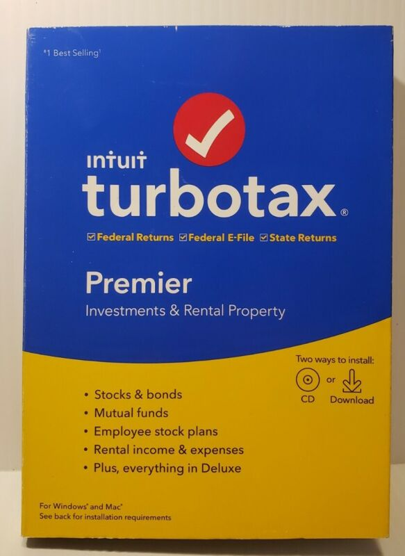 TURBO TAX PREMIER  2019 - Federal + State - PC/Mac Disc - NEW FACTORY SEAL