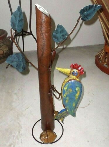 "Recycled Distress Metal Yard Garden Art Bird Woodpecker on Tree 27"""