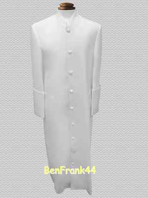 Nwt Mens Clergy Robe Pastor Minister Cassock Preacher Clerical Solid Off White