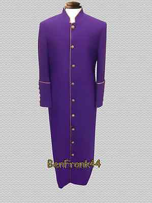 Nwt Mens Clergy Robe Minister Pastor Cassock Preacher Wow Clerical Purple Gold