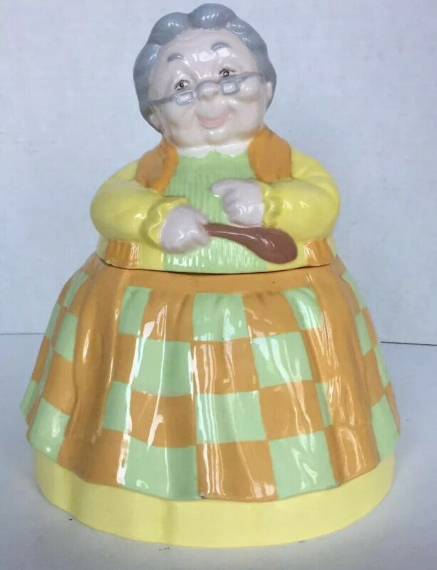 Grandmother Grandma Cookie Jar Vintage Yellow Orange