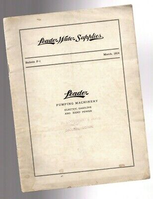 Vintage Leader Water Supplies Pump Catalog F-1 For Hitmiss Engines 1914 Nyil