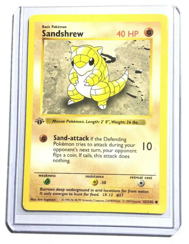 Pokemon Base Set Shadowless Common Card #62//102 Sandshrew