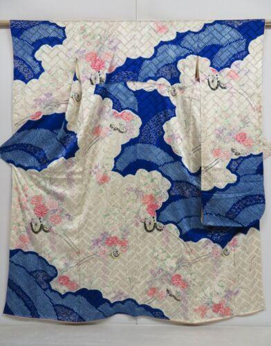 1019i09z980 Vintage Japanese Kimono Silk FURISODE Off-white Flower cart