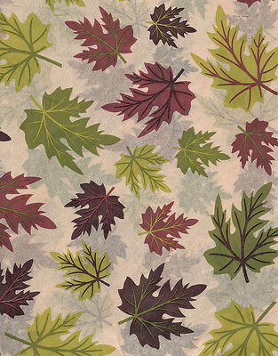 Fall Leaves on Tan Tissue Paper # 521 ~ Plum/Browns/Greens ~ 10 Large Sheets (Tissue Paper Leaves)