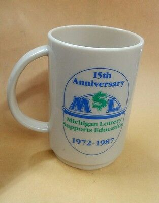 Ml Michigan Lottery Supports Education 15Th Anniversary Plastic Coffee Cup 72 87