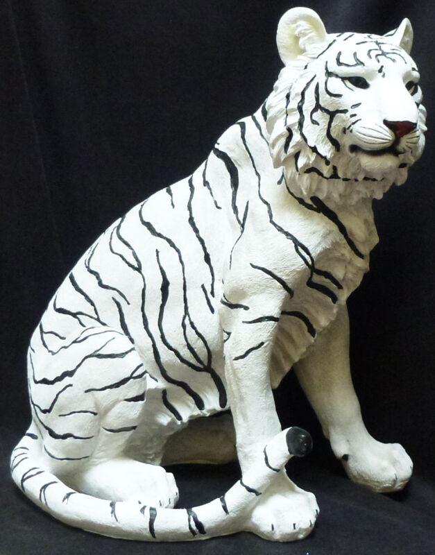 ISHTAR  Large White Tiger   Statue Figurine  H20.25