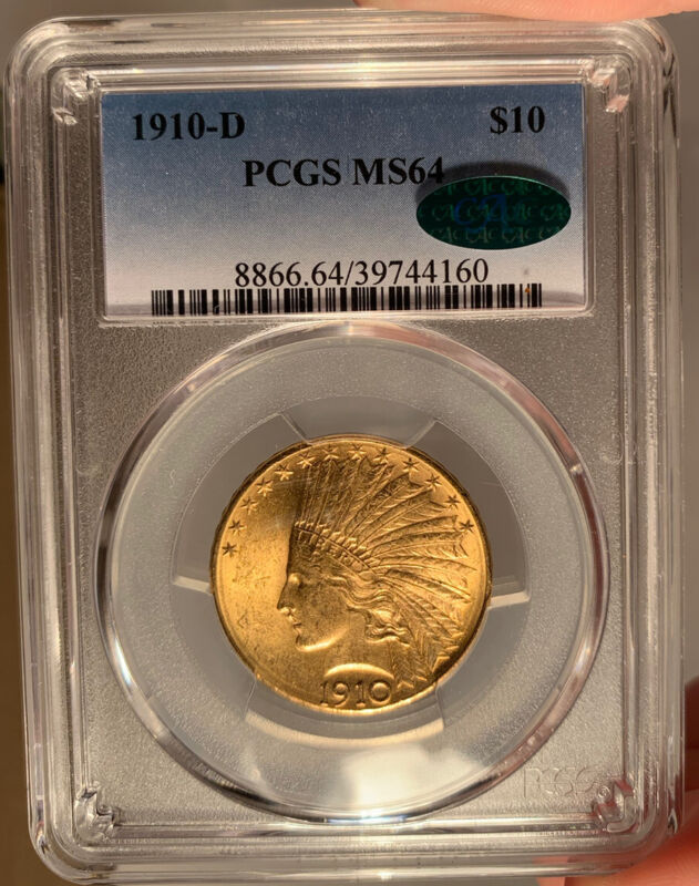 1910-D $10 PCGS MS 64 CAC Indian Head Gold Eagle