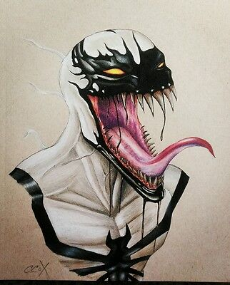 Handmade one of a kind art Colored pencil Antivenom Spiderman Marvel portrait