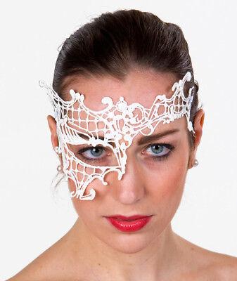 Maskerade Masken Weiß (weiße Augenmaske aus Spitze Maskerade Maske Ball Domino Venezia Karneval Faschin)