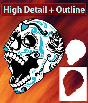 Mini Sugar Skull 2 Special Two Layer Airbrush Stencil Spray Vision Template](Sugar Skull Stencil)