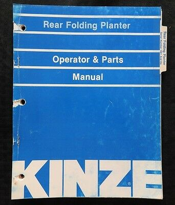 Kinze Model Rear-folding Planter Operator Parts Catalog Manual Ser. 1561 Up