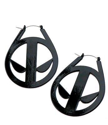 Marvel Deadpool Logo Black  Stainless Steel Hanger Earrings