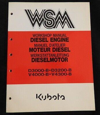 Original Kubota D3000-b D3200-b V4000-b V4300-b Diesel Engine Repair Manual Nice