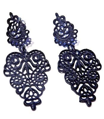 BLACK METAL FILIGREE HEART EARRINGS Victorian Gothic painted lace doily stud V2 Painted Lace Earrings