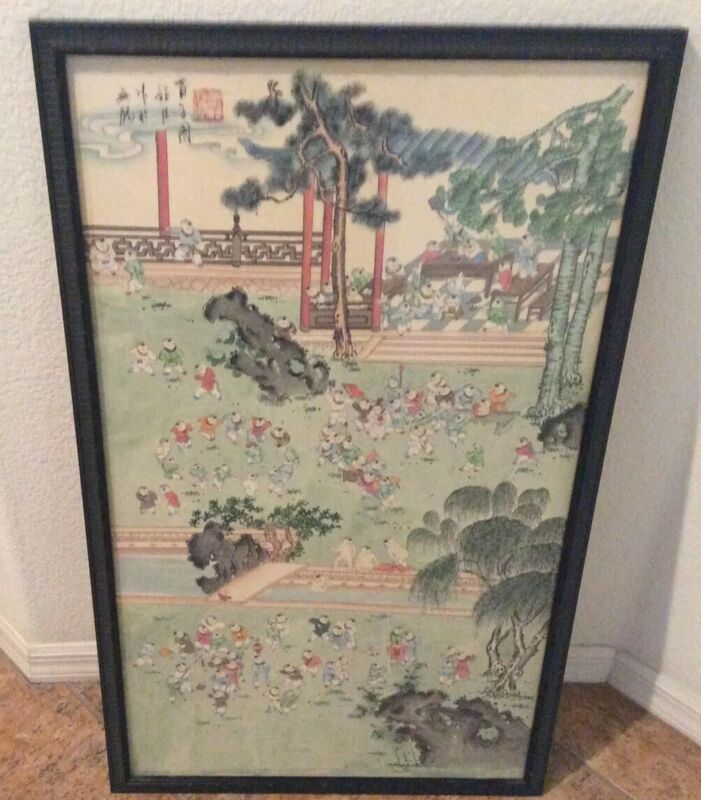 "Large Antique 1920's  Chinese Ink & Wash Signed  Depicts ""100 Boys"" 39""x23"""