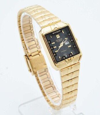 Citizen Quartz Women Day Date Gold Stainless Steel Black Dial Analog Watch 183L