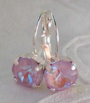 Swarovski Crystal Silver Plated Earrings - 8mm CupChain LAVENDER DELITE/SILVER-PLATED  LEVERBACK EARRINGS~Swarovski Crystal